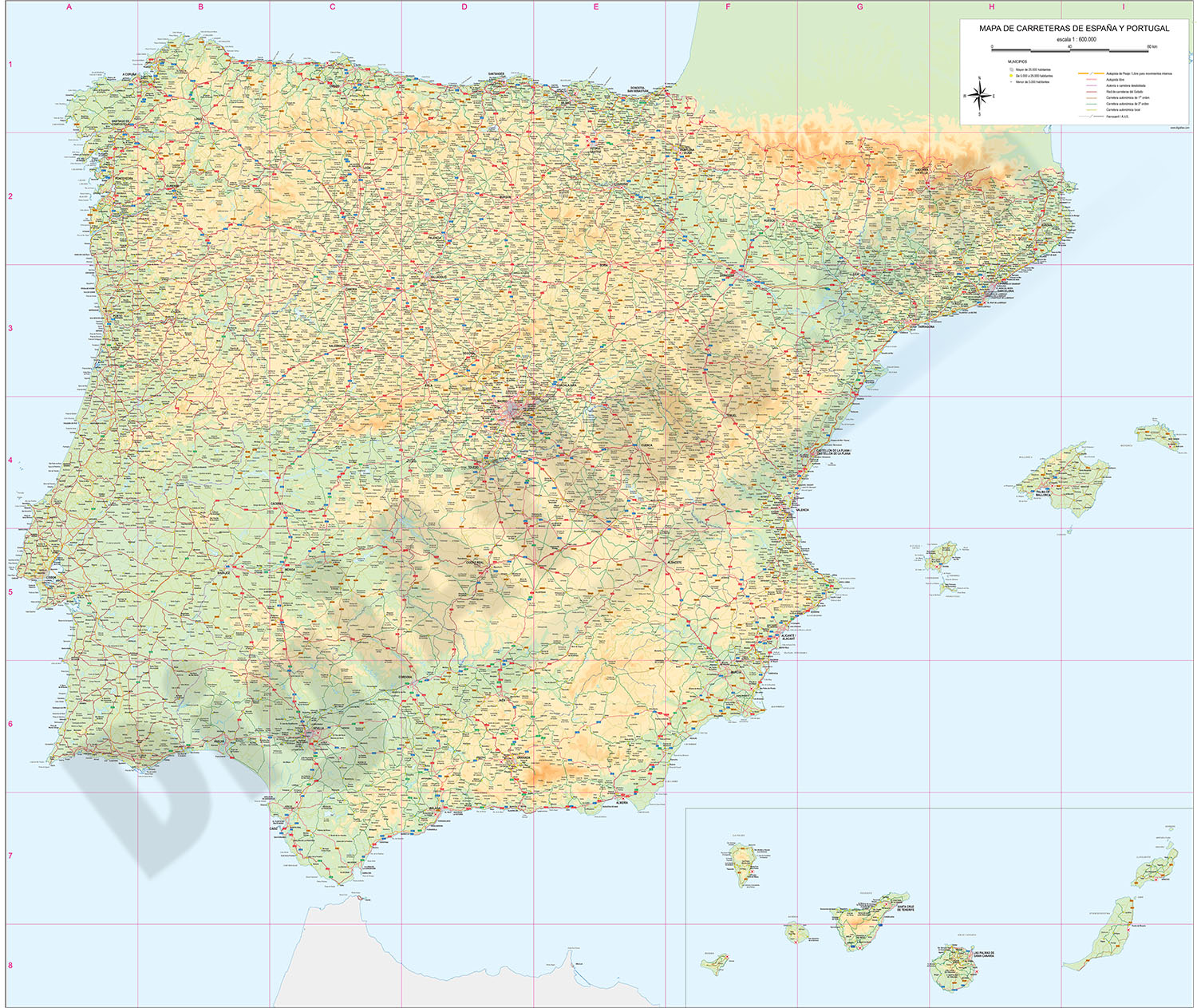 Road Map Of Portugal And Spain.Roadmap Of Spain And Portugal