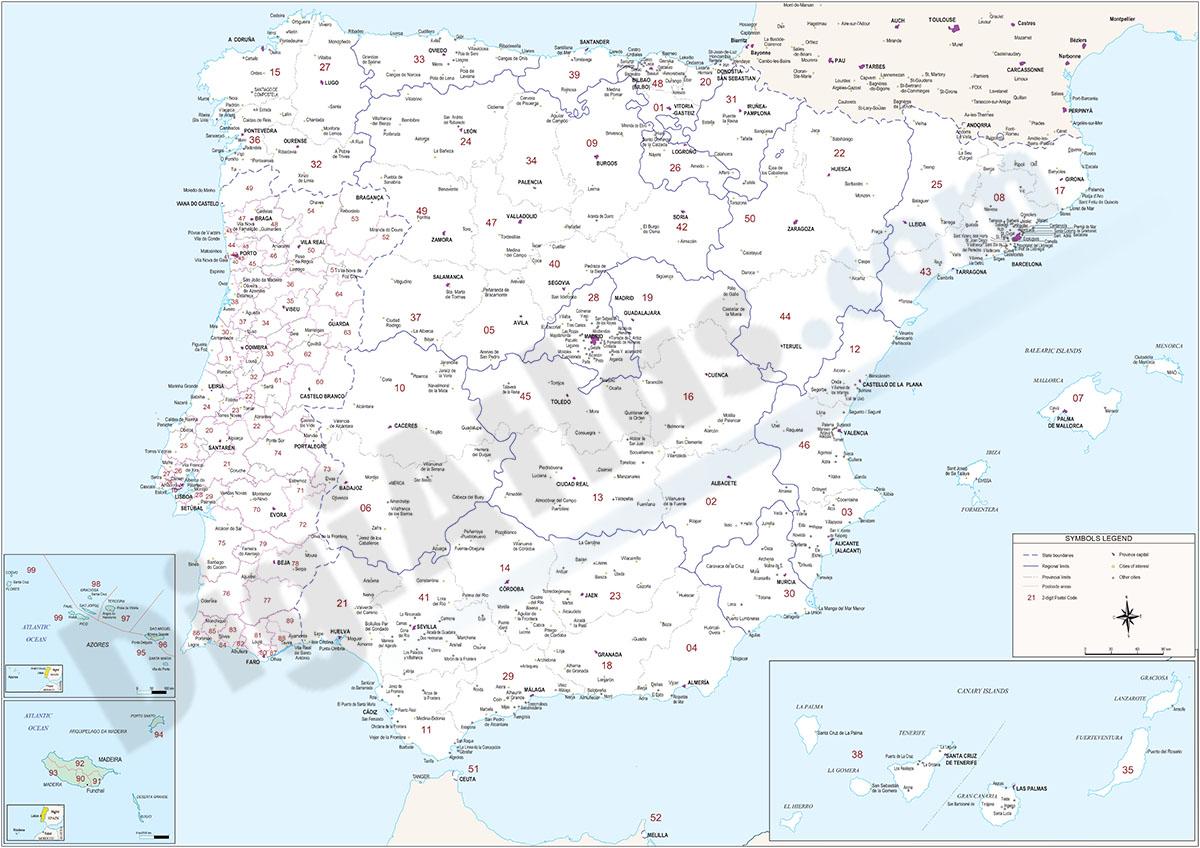 Mapa de España y Portugal con provincias y codigos postales
