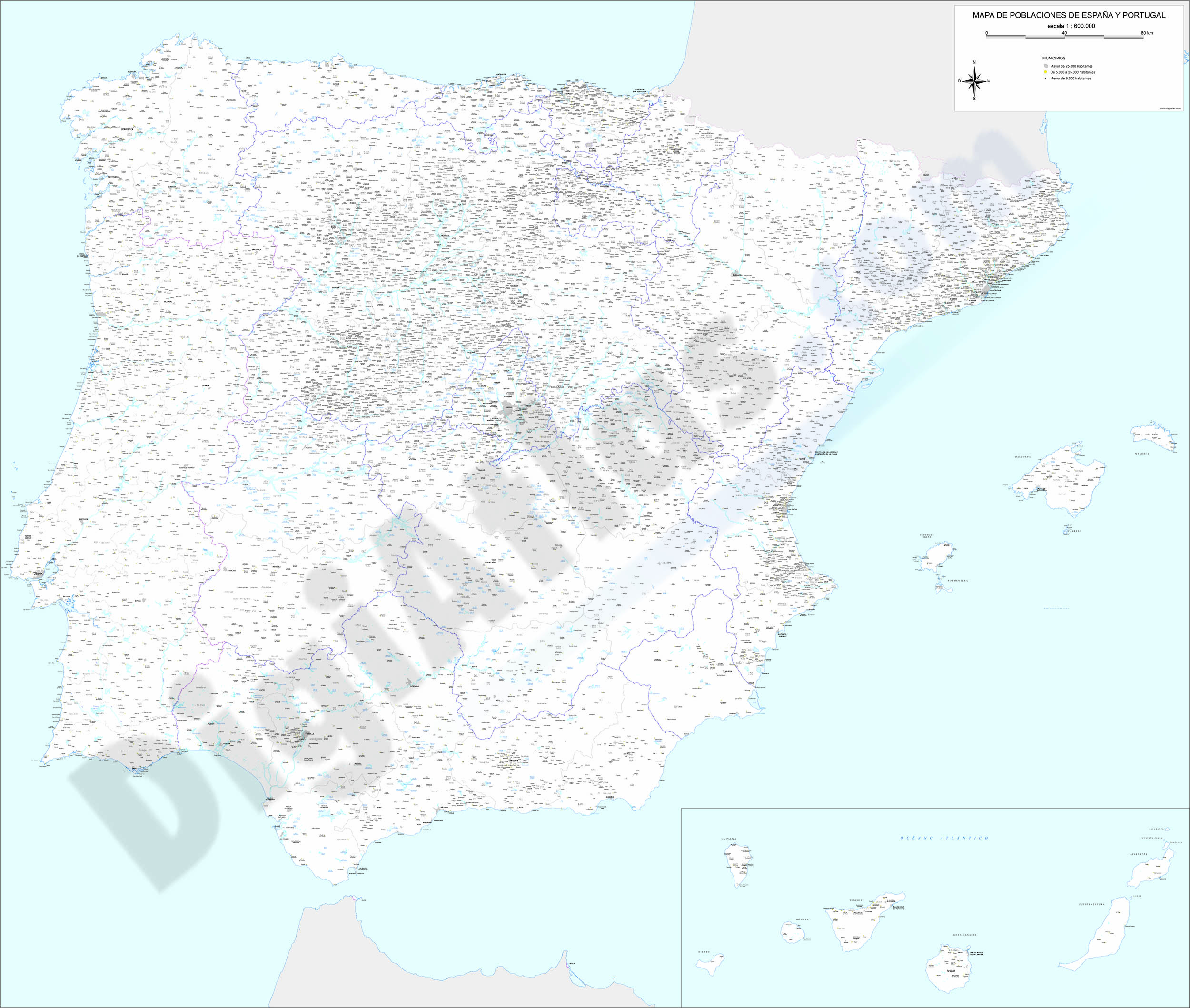 Map of Spain and Portugal with cities