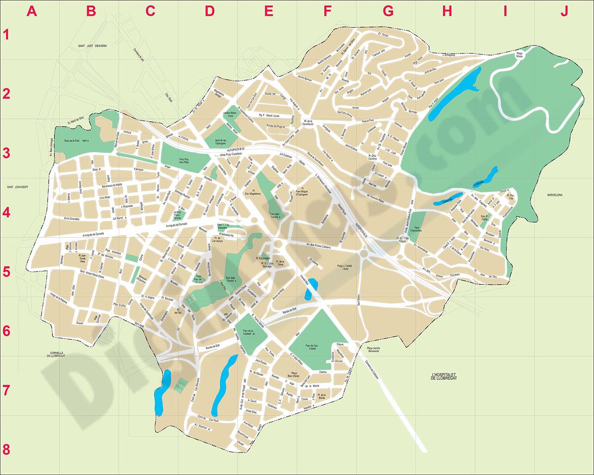 Cornella De Llobregat Mapa.Esplugues De Llobregat Plano Callejero