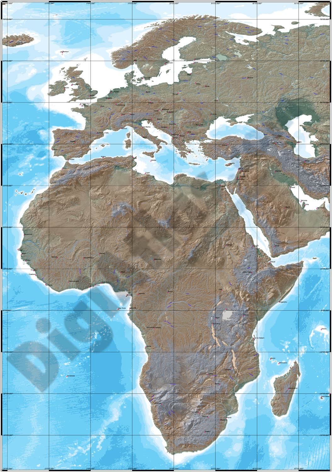 Map of Africa and Europe