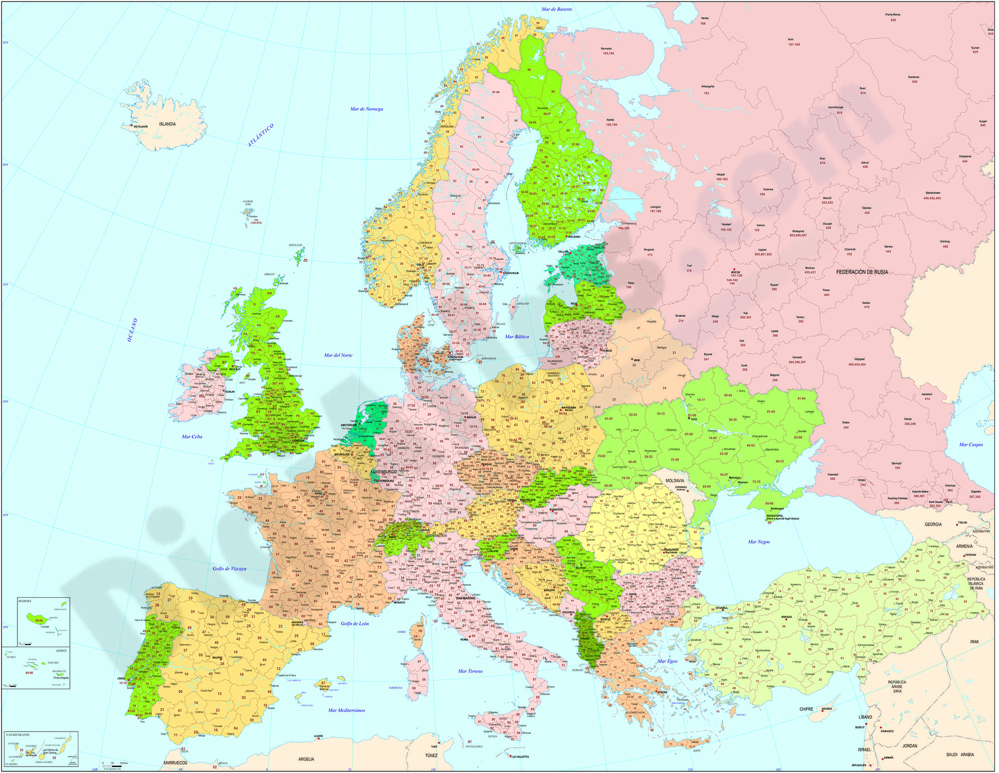 Map of Europe with 2-digit postal codes