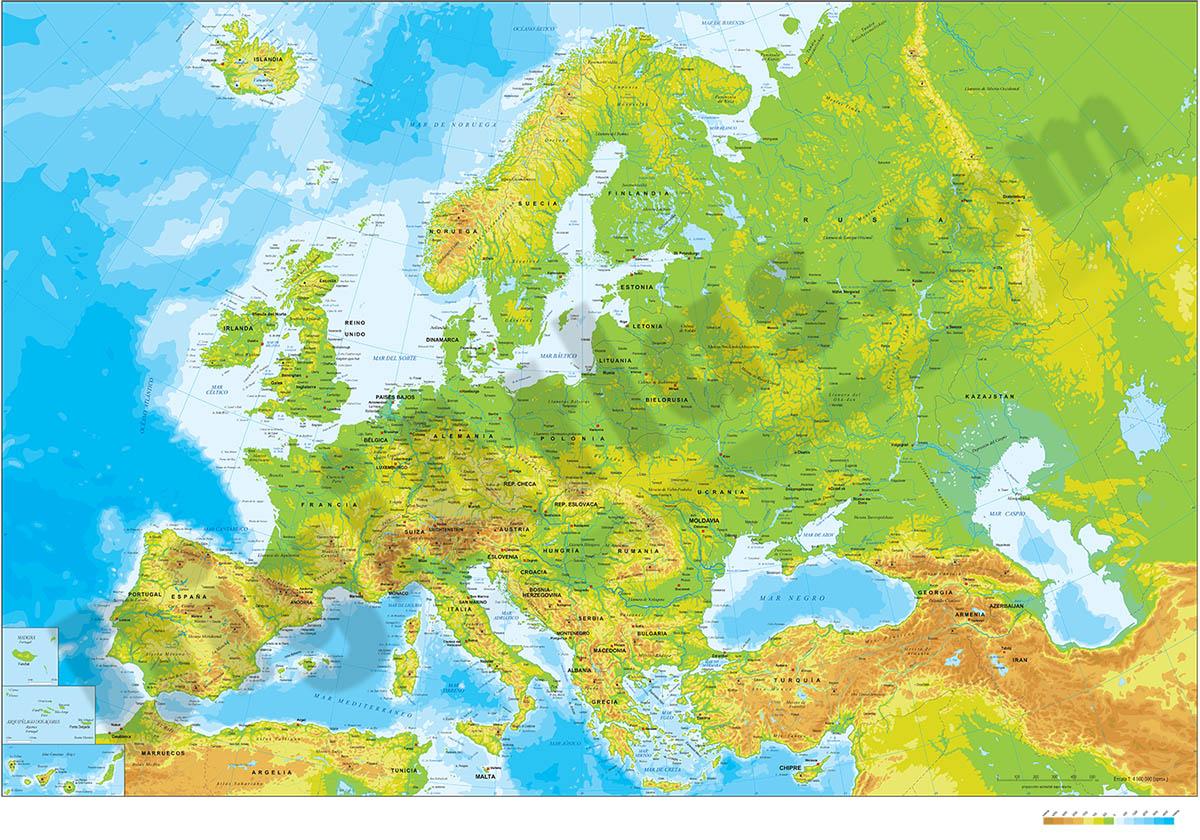 Mapa de Europa - relieve vectorial