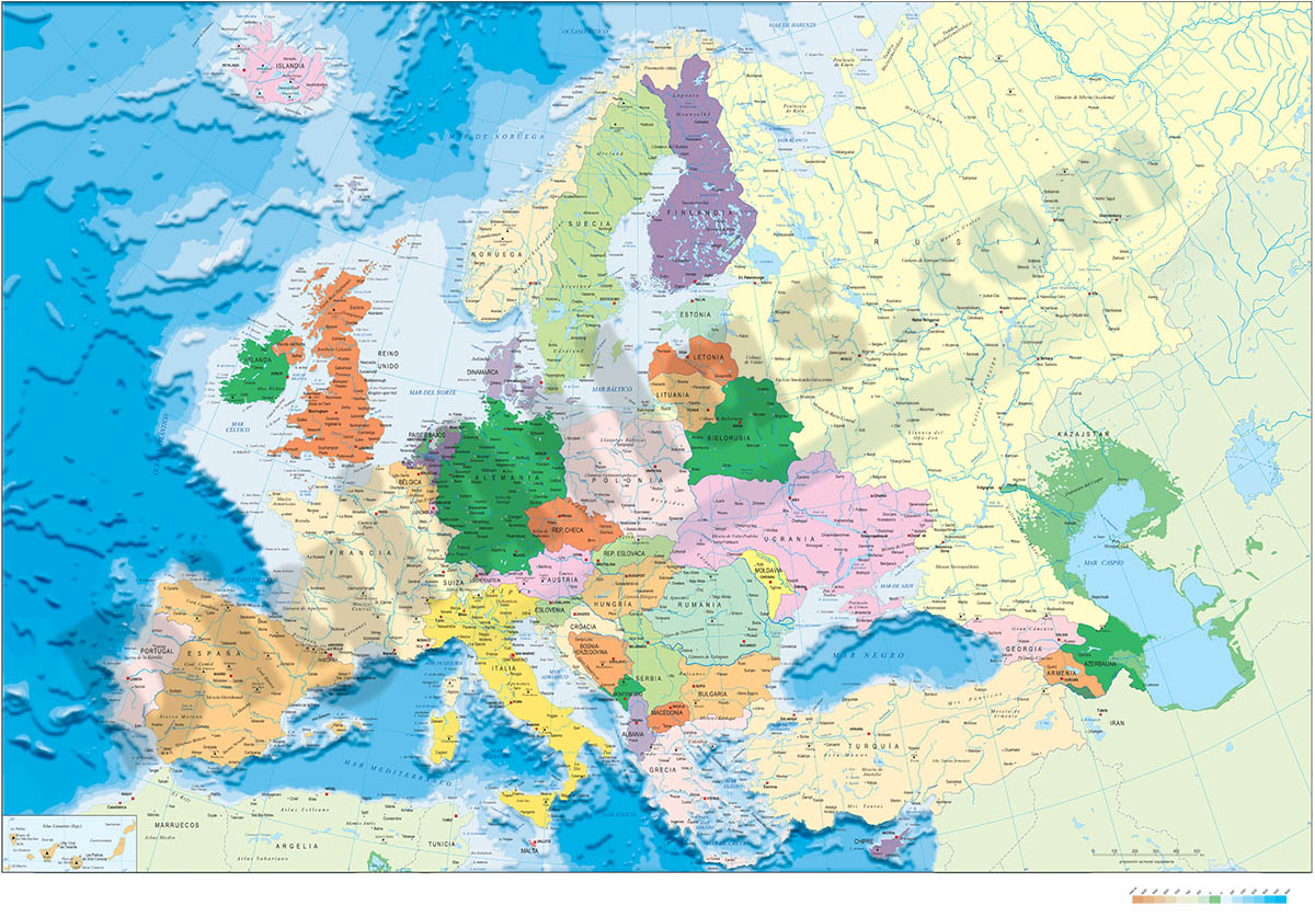 Europe political and geographical map