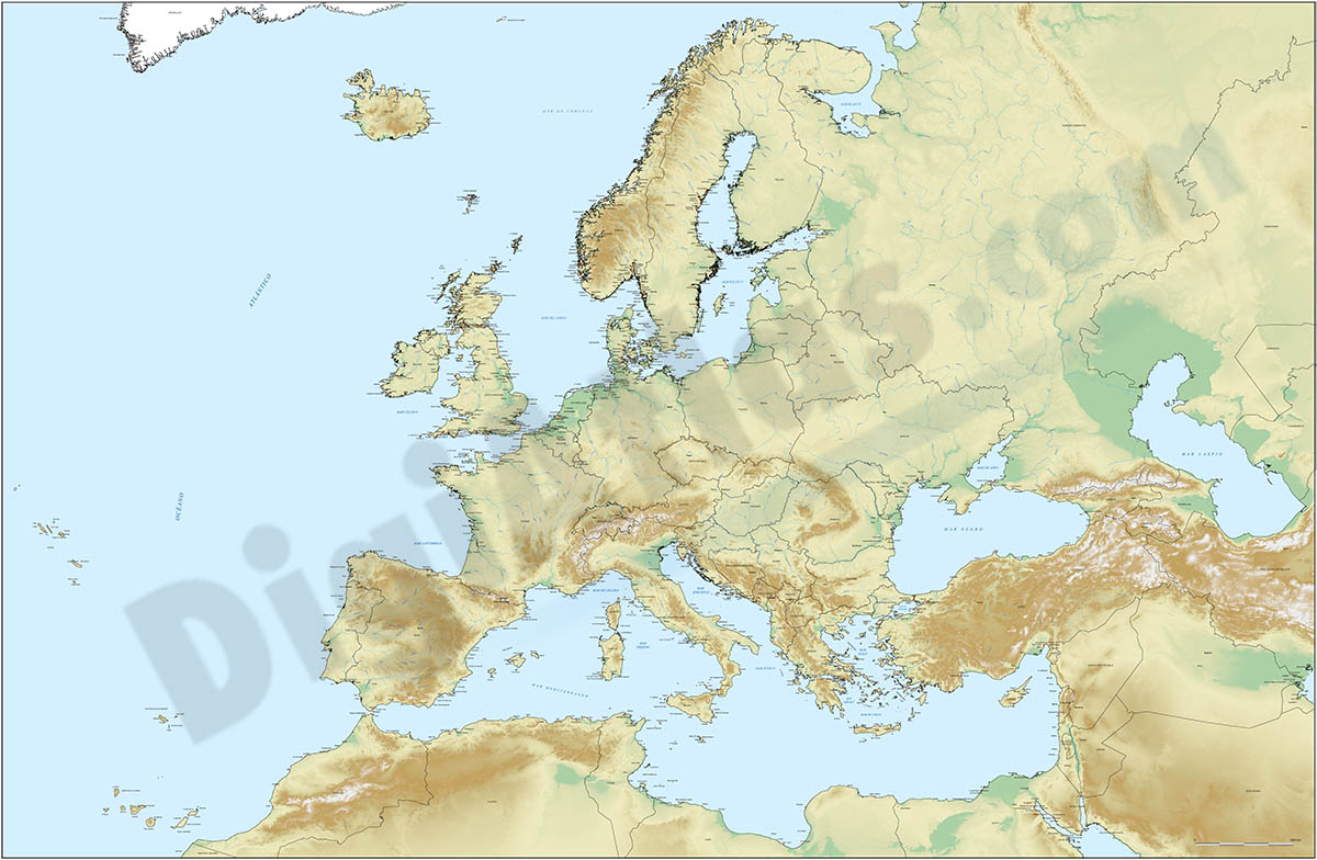 Europe map with seaports