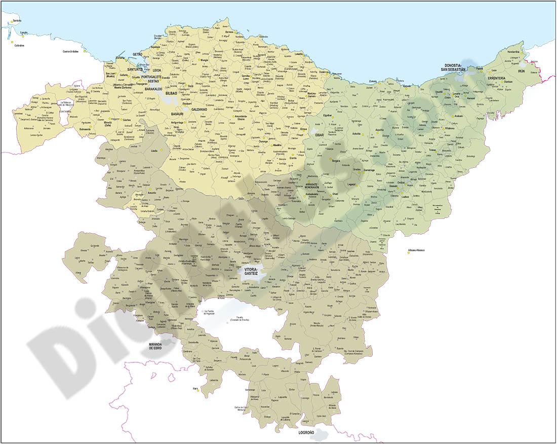 Mapa de Euskadi con términos municipales