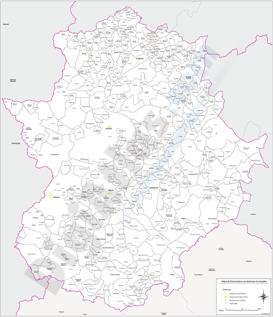 Mapa de Extremadura con municipios y poblaciones