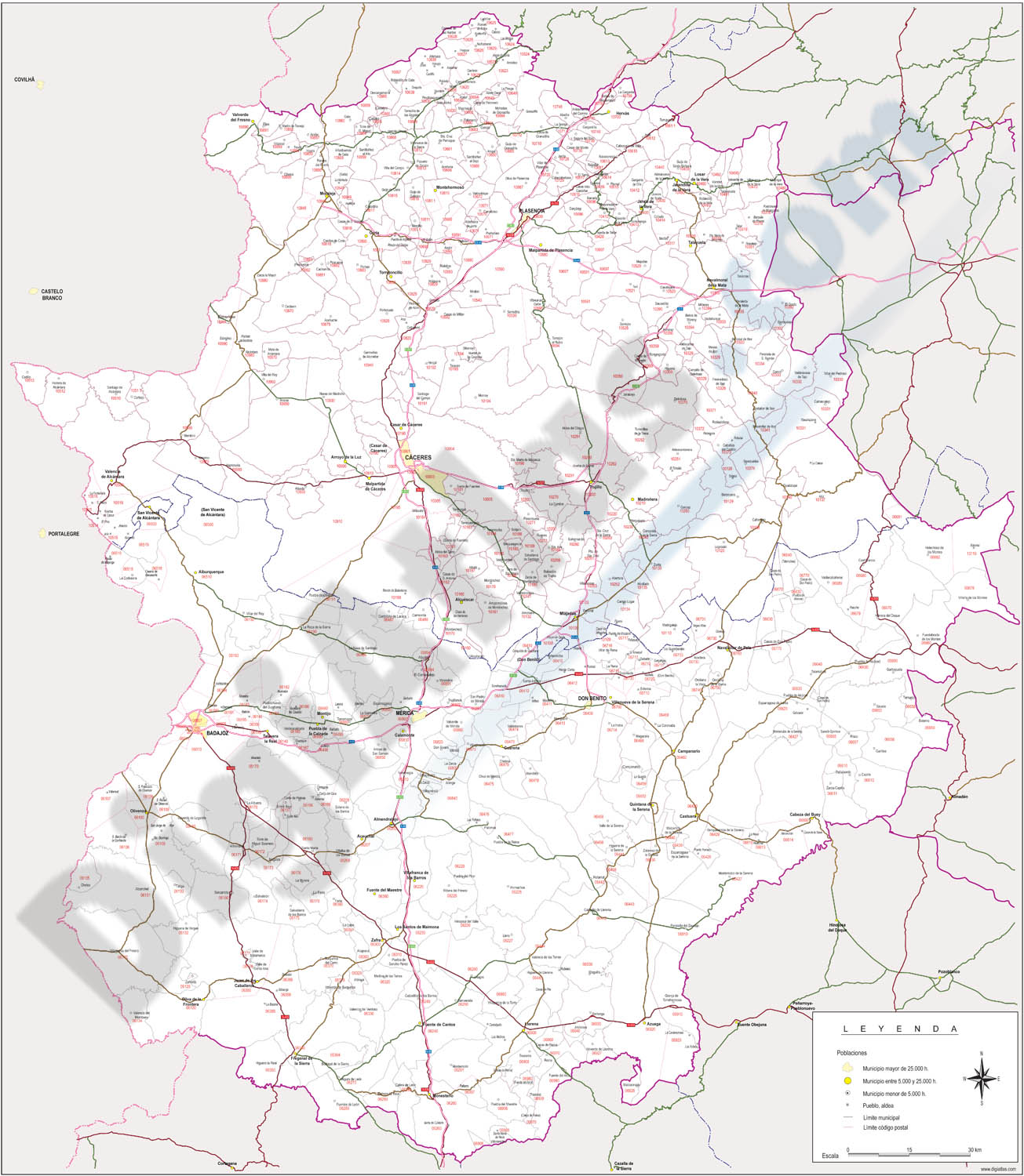 Extremadura - Mapa autonómico con municipios, códigos postales y carreteras