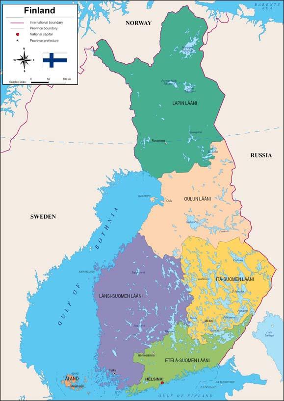 Mapa de Finlandia