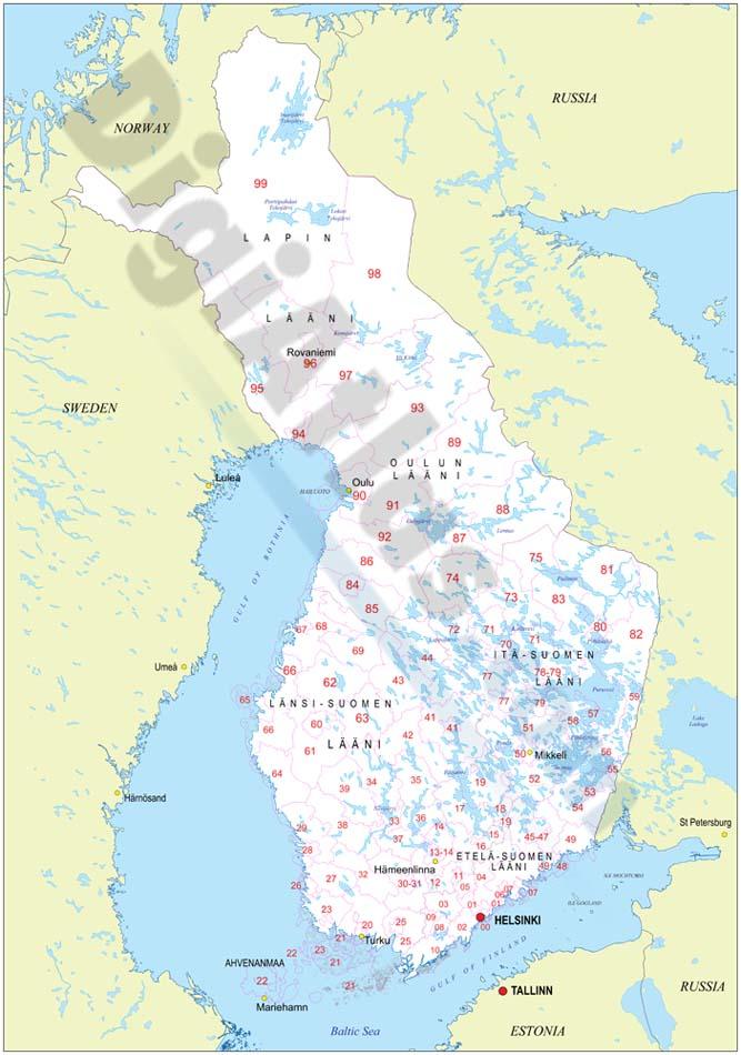 Mapa de Finlandia con regiones y codigos postales