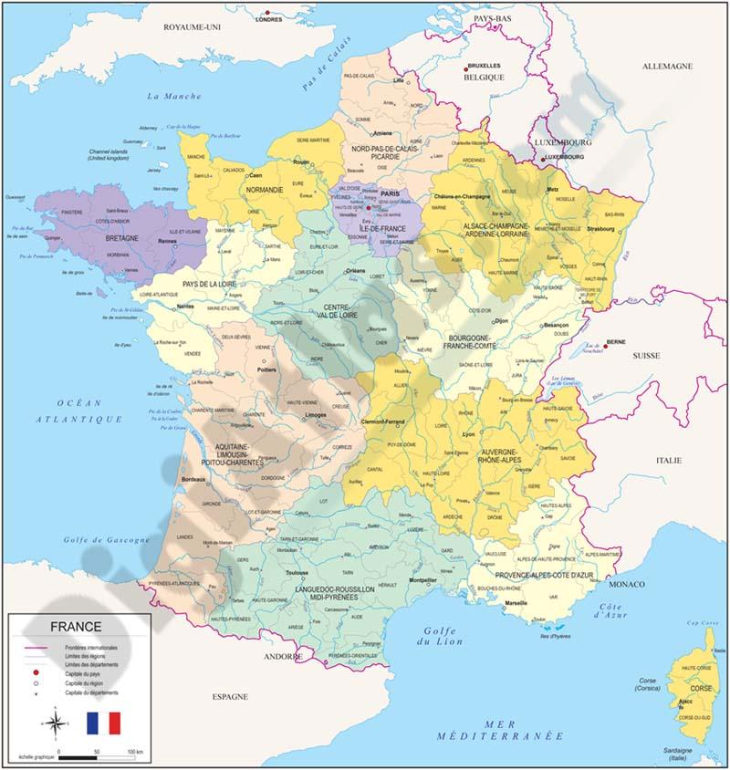 Mapas políticos de paises europeos con regiones y provincias