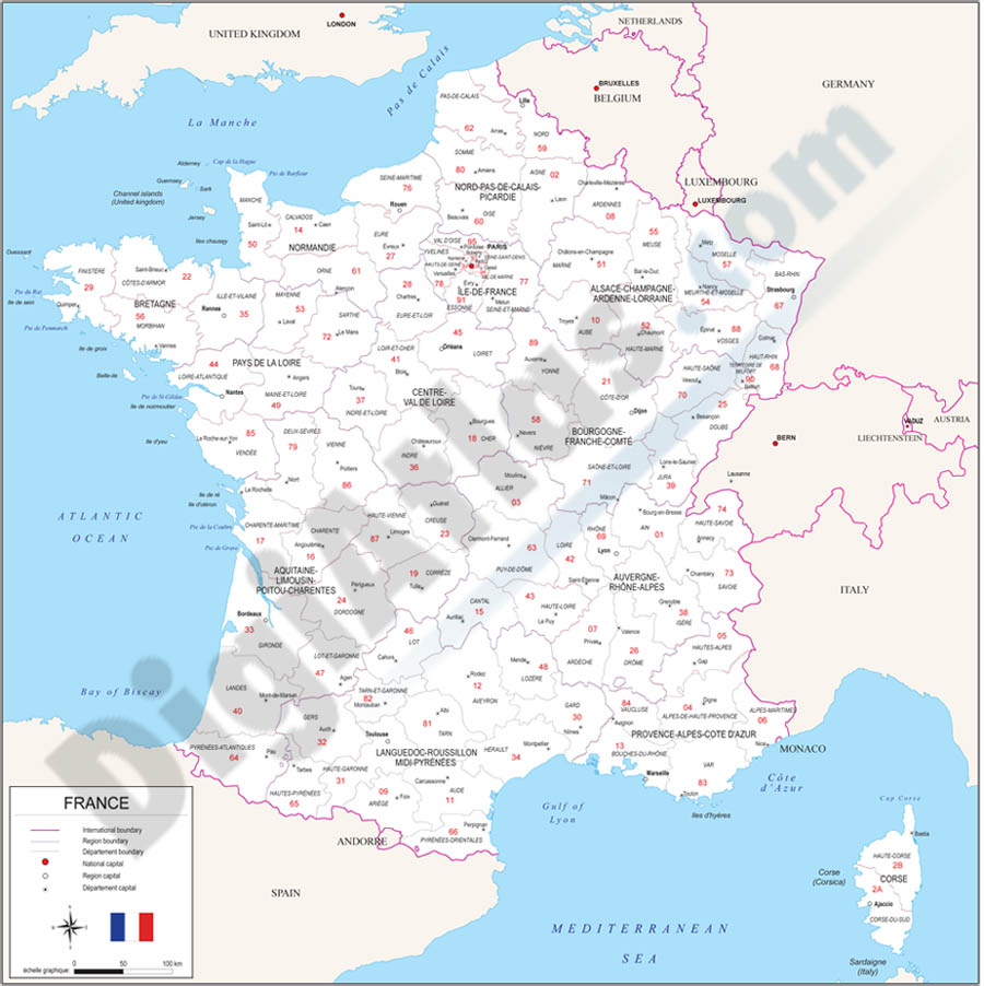Map of France with regions and Postal Codes