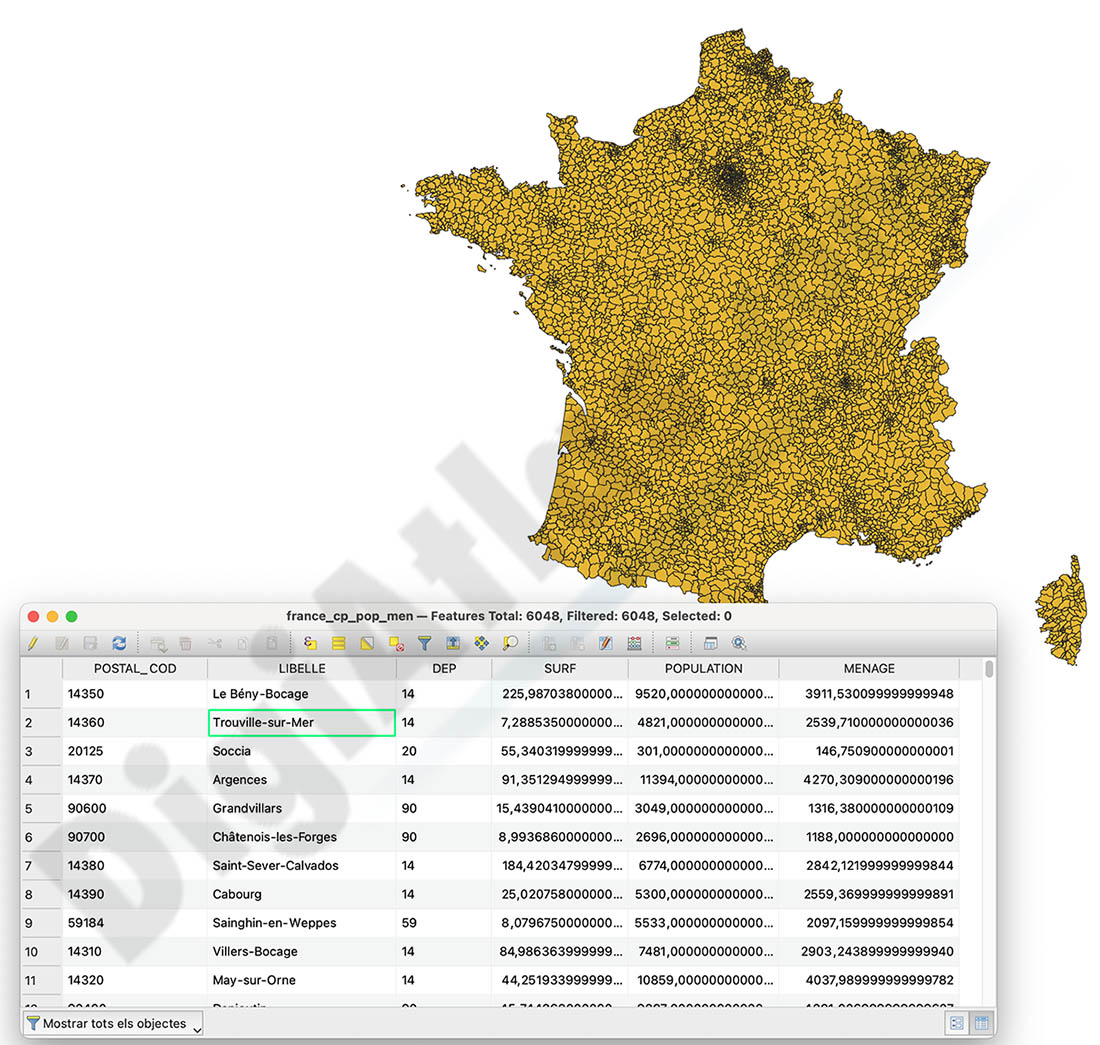 Population for every postcode in France