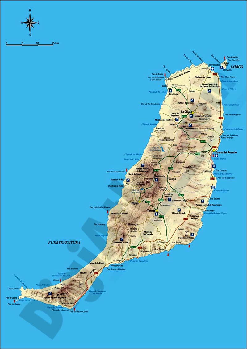 Fuerteventura Island Map Map of map of fuerteventura island (canary islands)