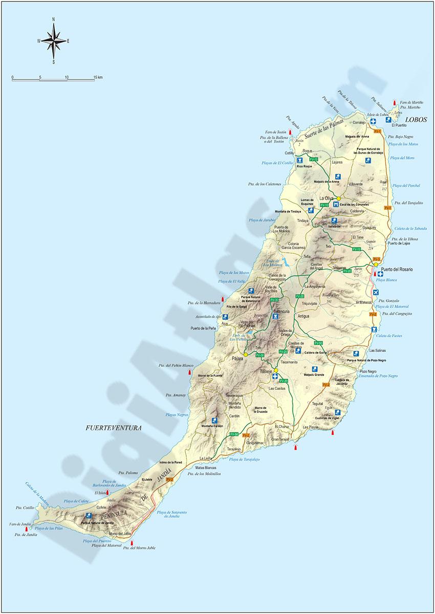 Map of Map of Fuerteventura island (canary islands)