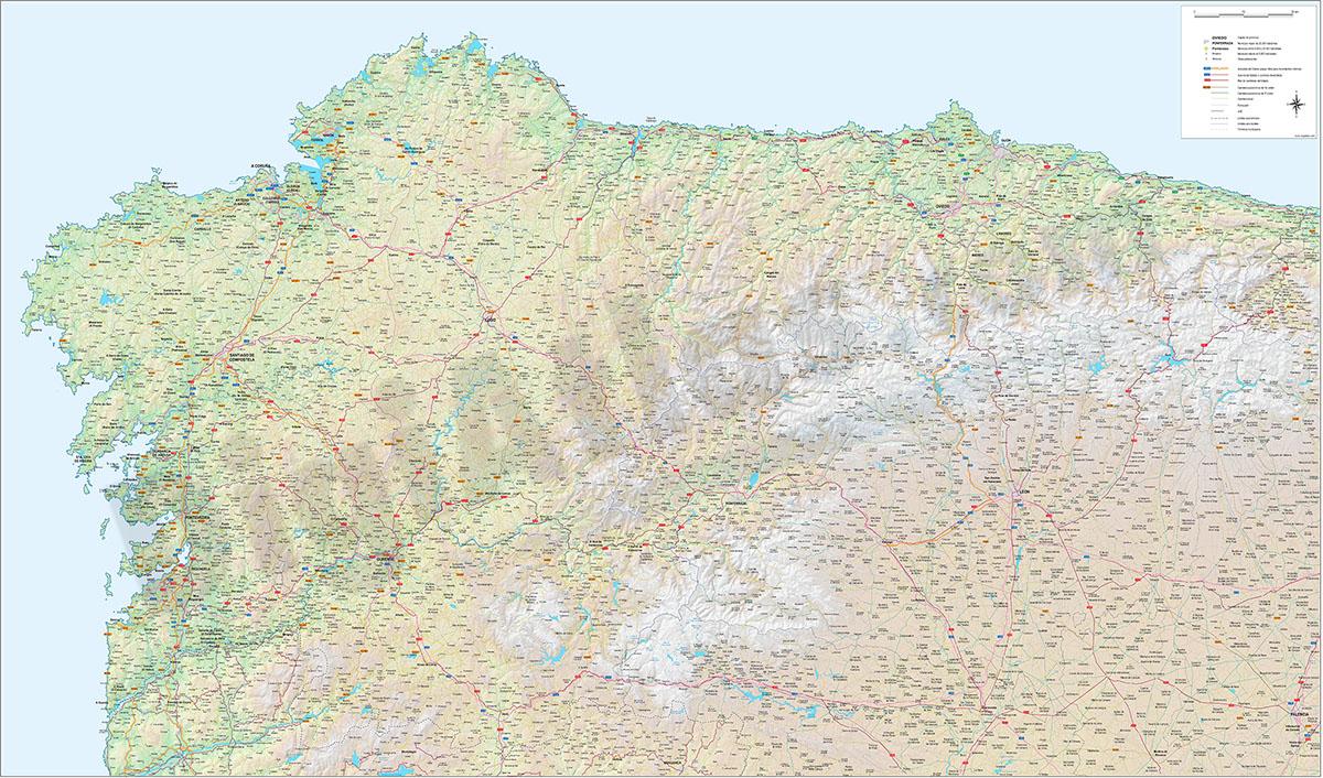 Mapa de carreteras y poblaciones de Galicia, Asturias y León