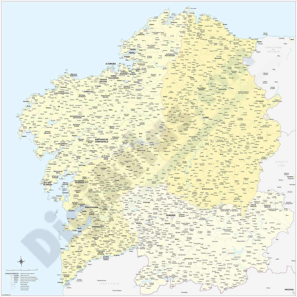 Galicia map with municipalities