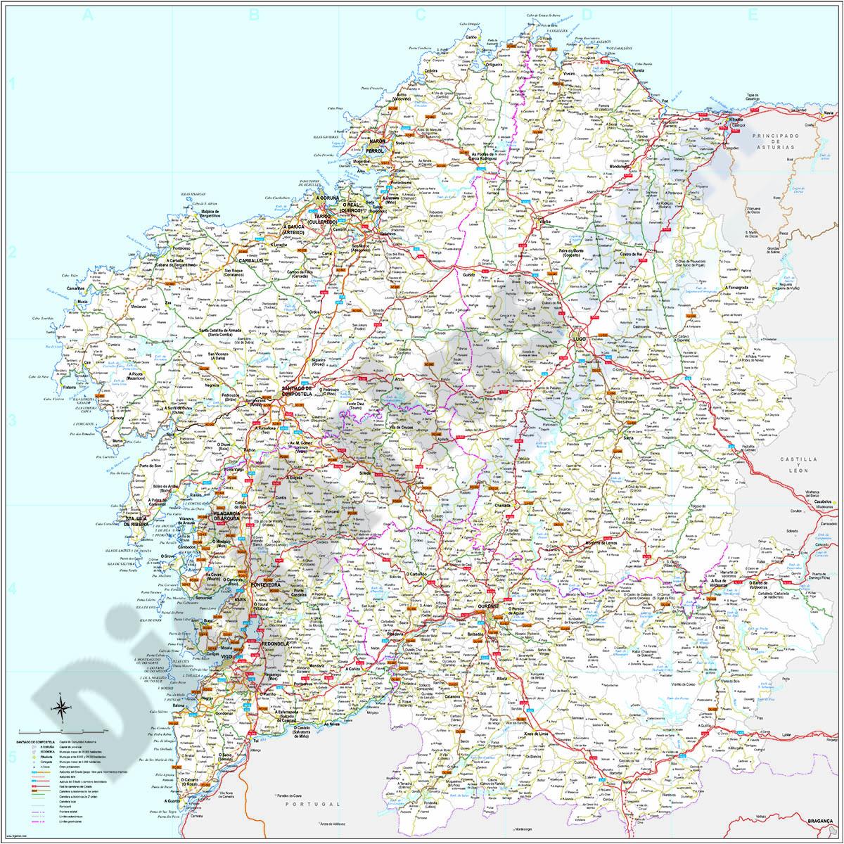 Galicia (Galizia) Spain autonomous community map