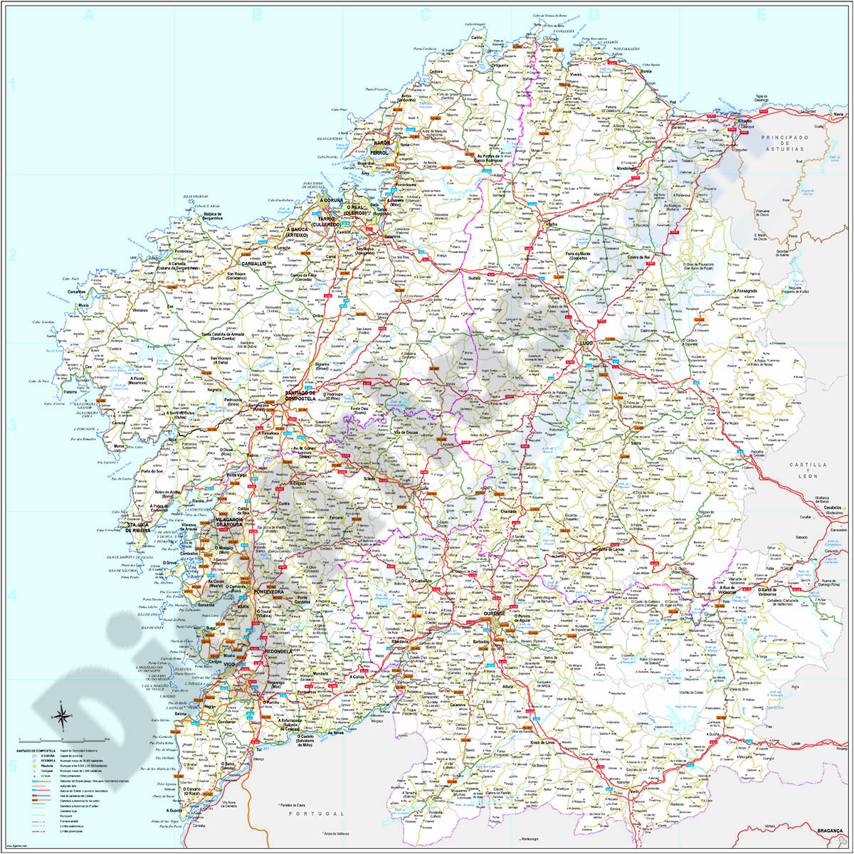 Mapa Politico De Galicia.Digiatlas Mapas Y Planos Digitales Mapas De Codigos Postales