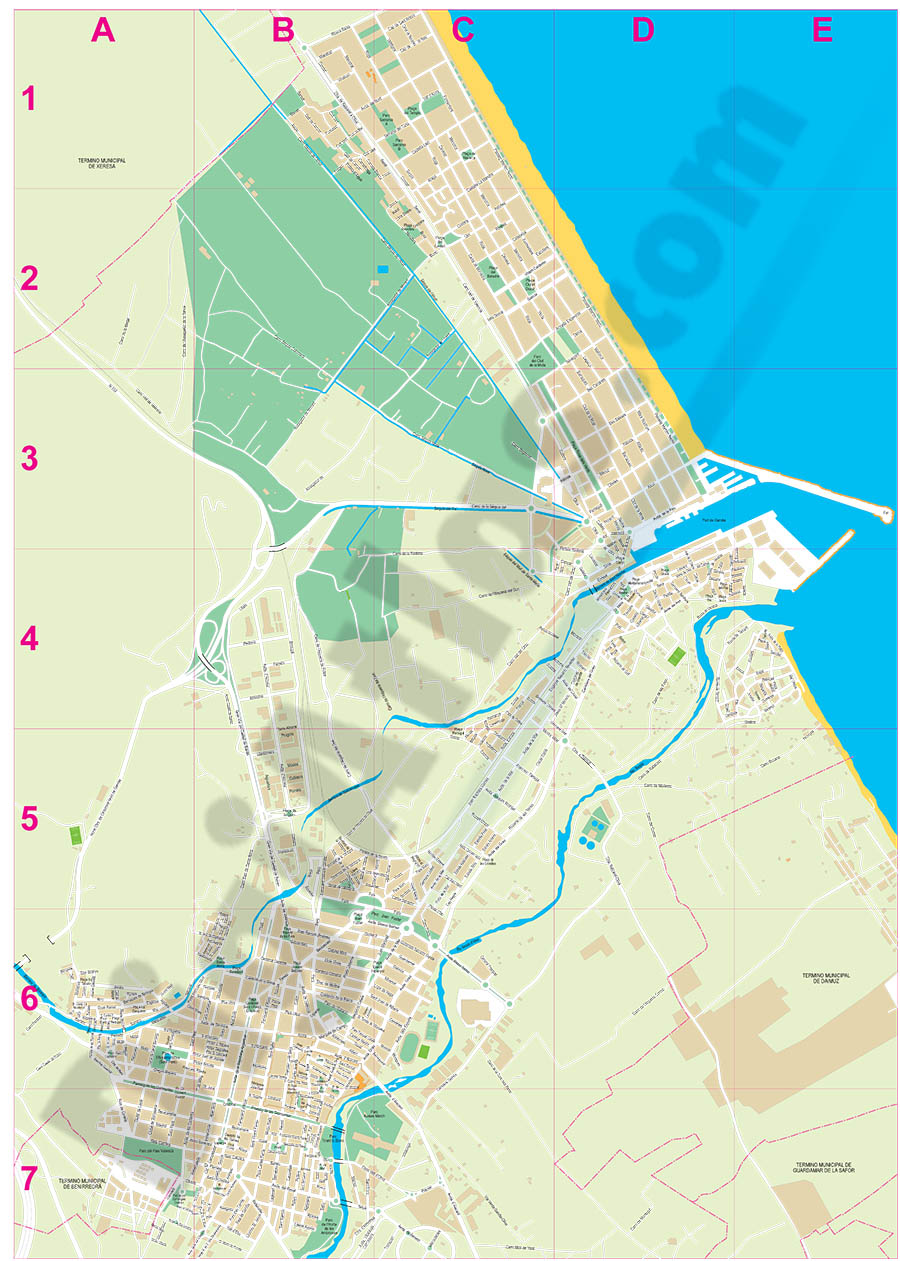 Gandia (Valencia, Spain) city map