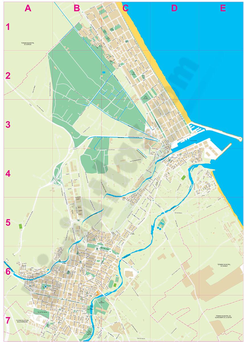 Gandia (Valencia, Spain) city map