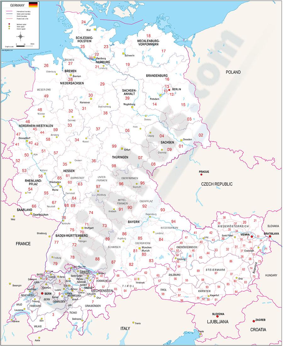 Mapa de Alemania (mas Austria y Suiza) con regiones y codigos postales