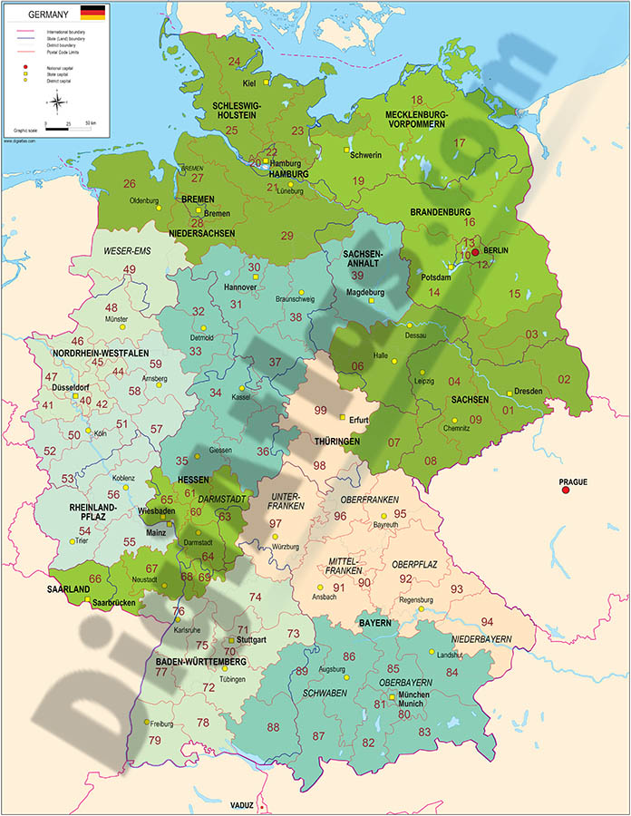 Map of Germany with regions and Postal Codes