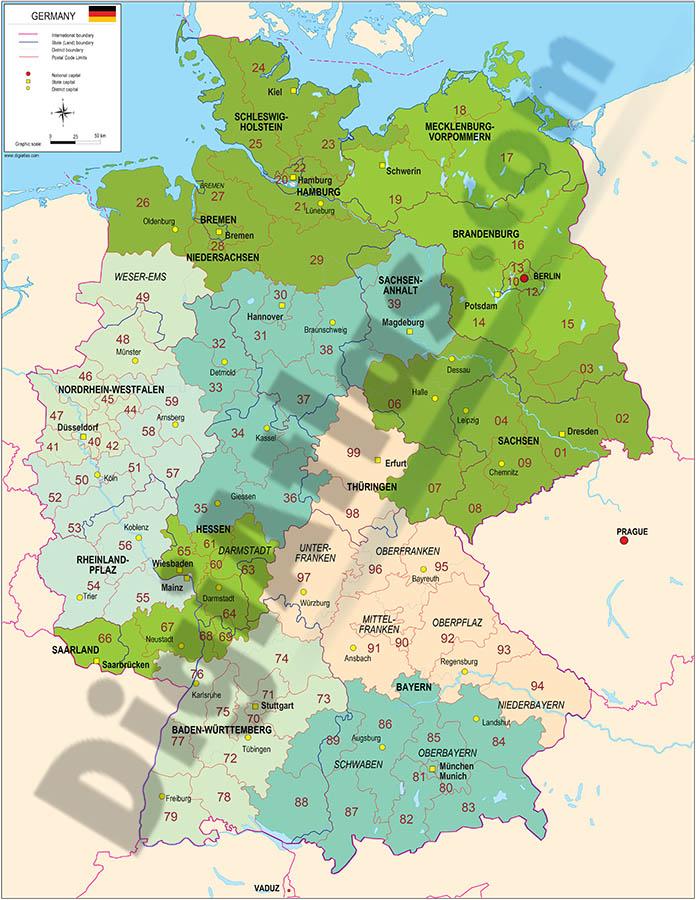 Mapa de Alemania con regiones y codigos postales