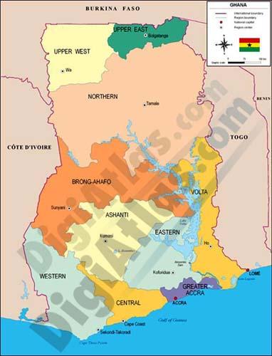 Mapa de Ghana