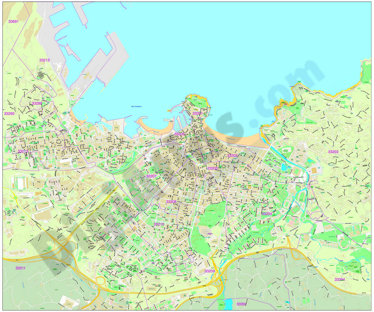 Gijón - city map with postal codes