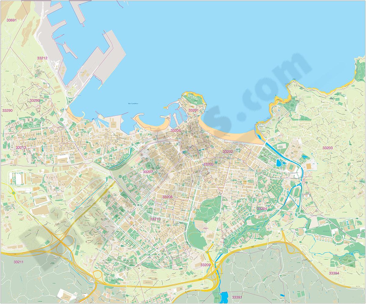 Gijón - plano con códigos postales