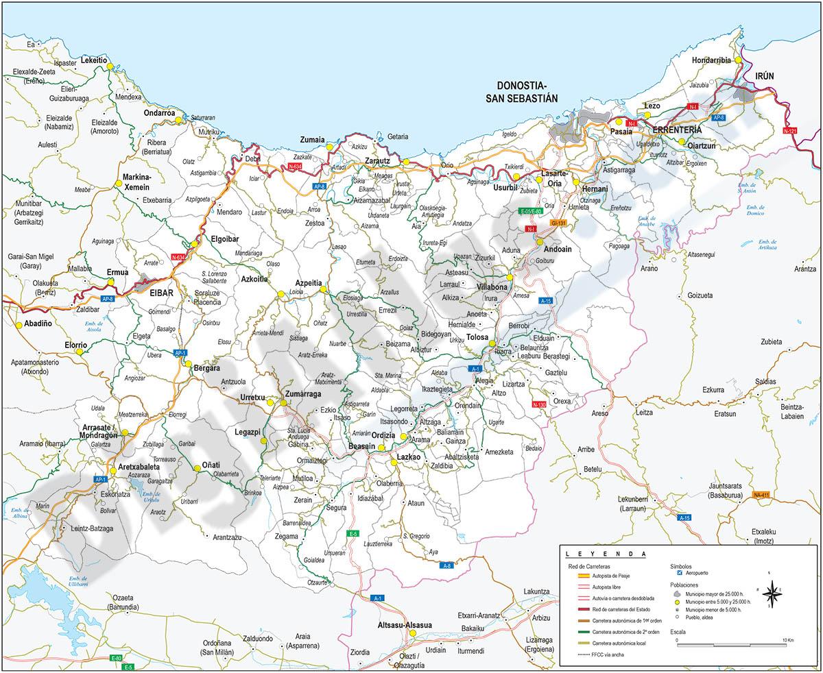 Mapa de la provincia de Gipuzkoa