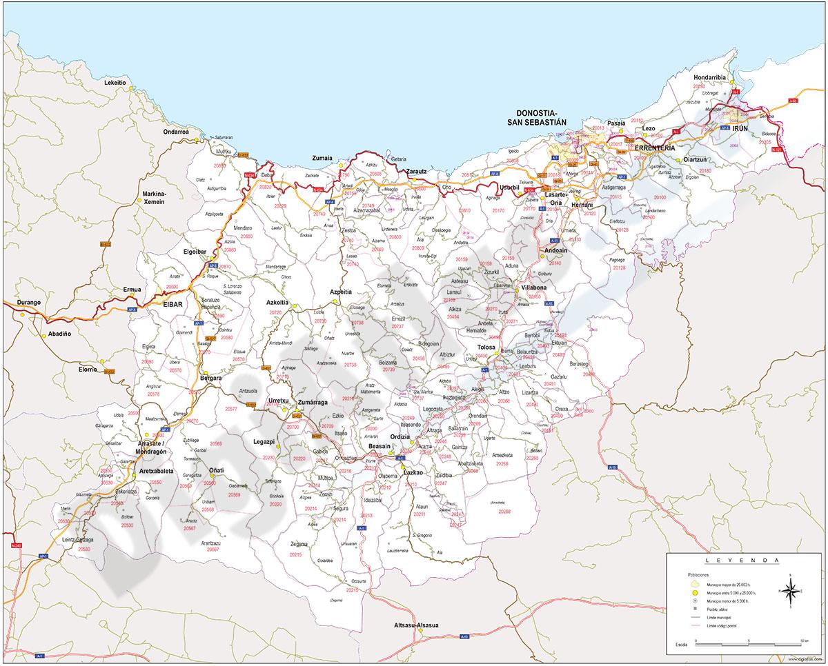 Gipuzkoa - mapa provincial con municipios, códigos postales y carreteras
