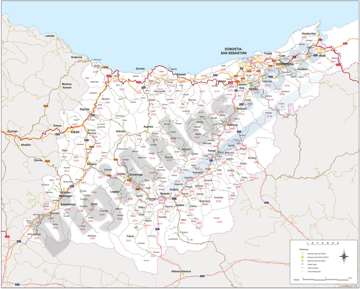 Gipuzkoa map with municipalities, major roads and postal codes