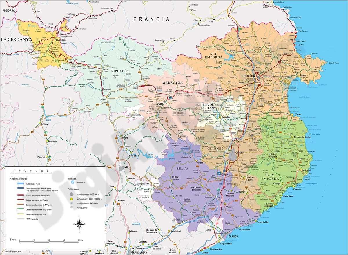 Mapa De Girona Provincia.Map Of Girona