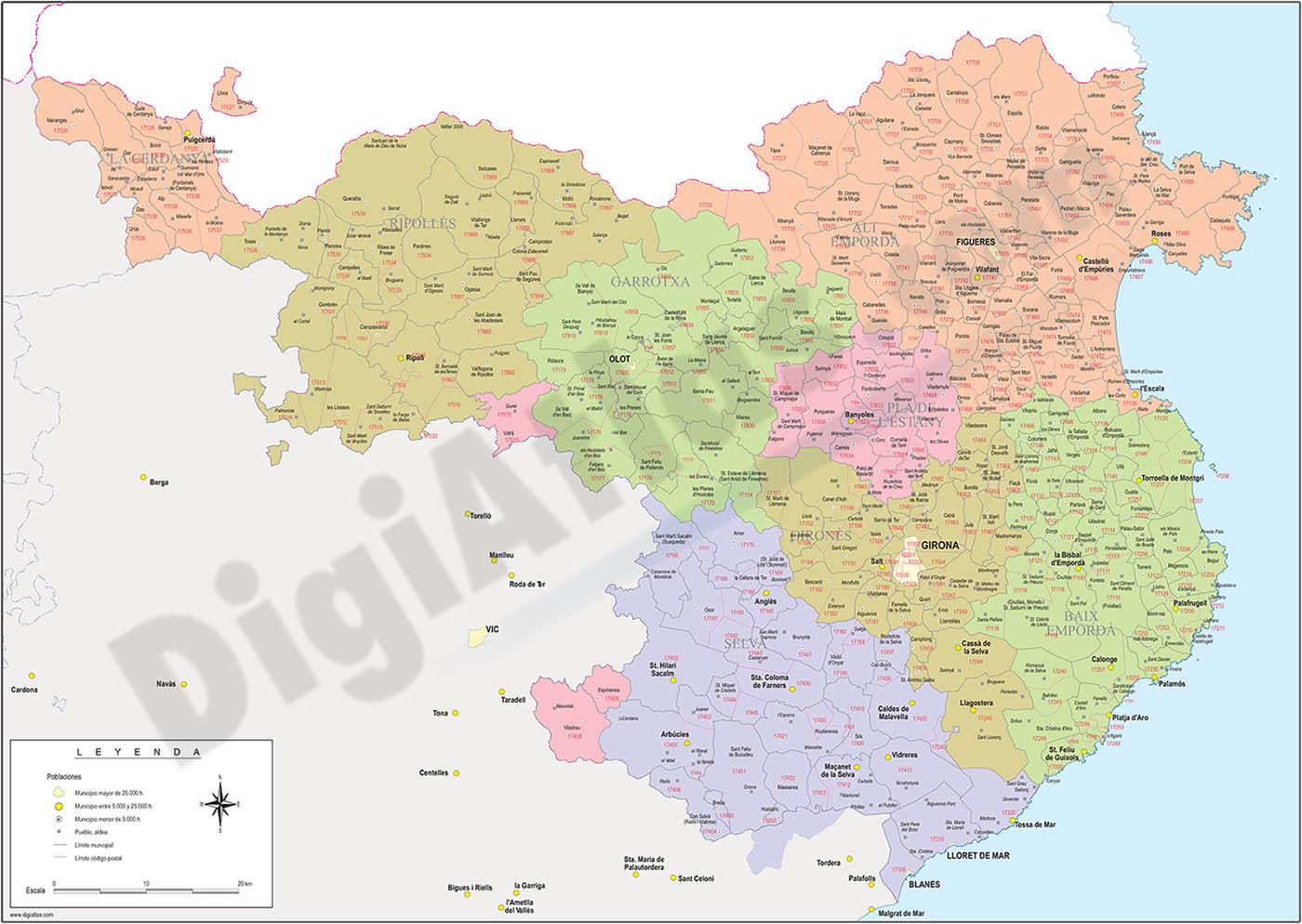 Mapa De Girona Provincia.Digiatlas Mapas Y Planos Digitales Mapas De Codigos Postales