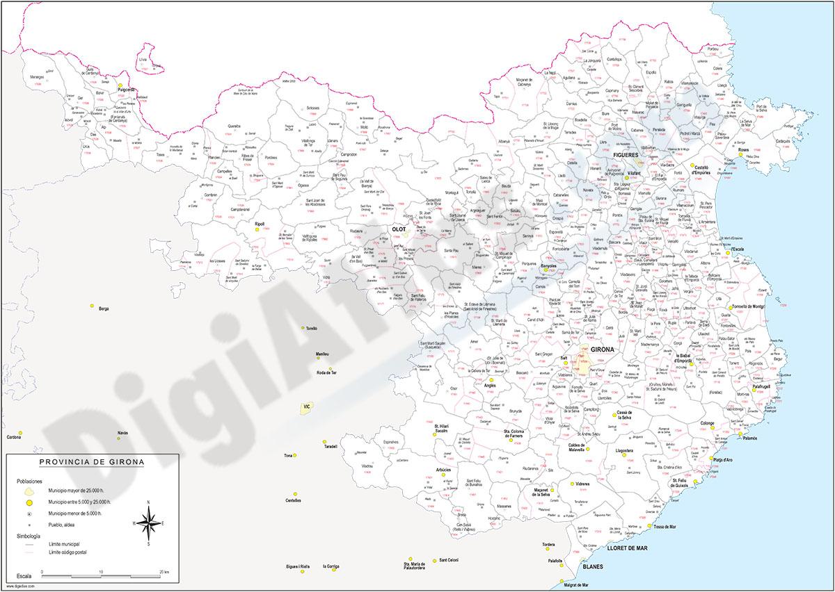 Girona - mapa provincial con municipios y Códigos Postales