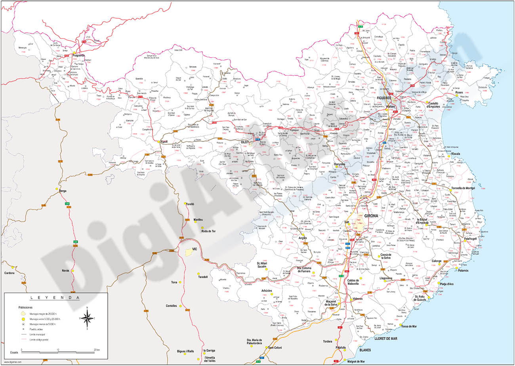 Girona - mapa provincial con municipios, códigos postales y carreteras