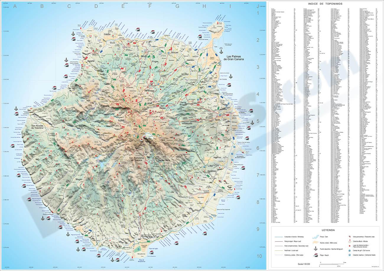 Map of Gran Canaria island (canary islands)
