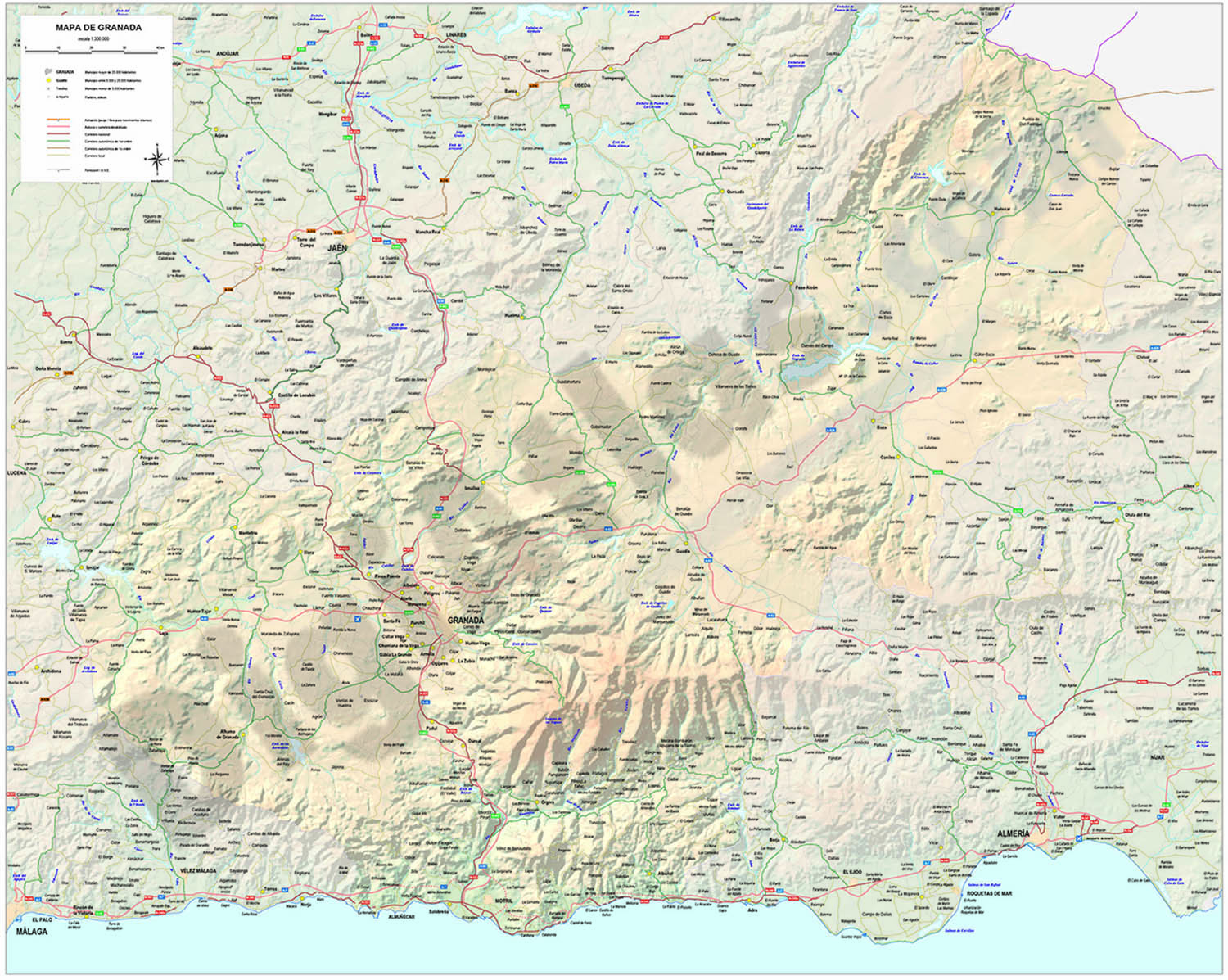 Map of province of granada (spain) Granada Spain Map on