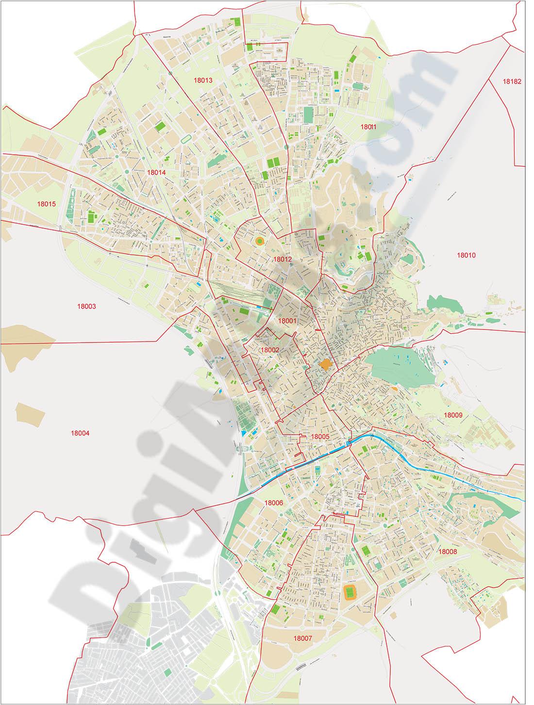 Granada - Plano de la ciudad con distritos postales