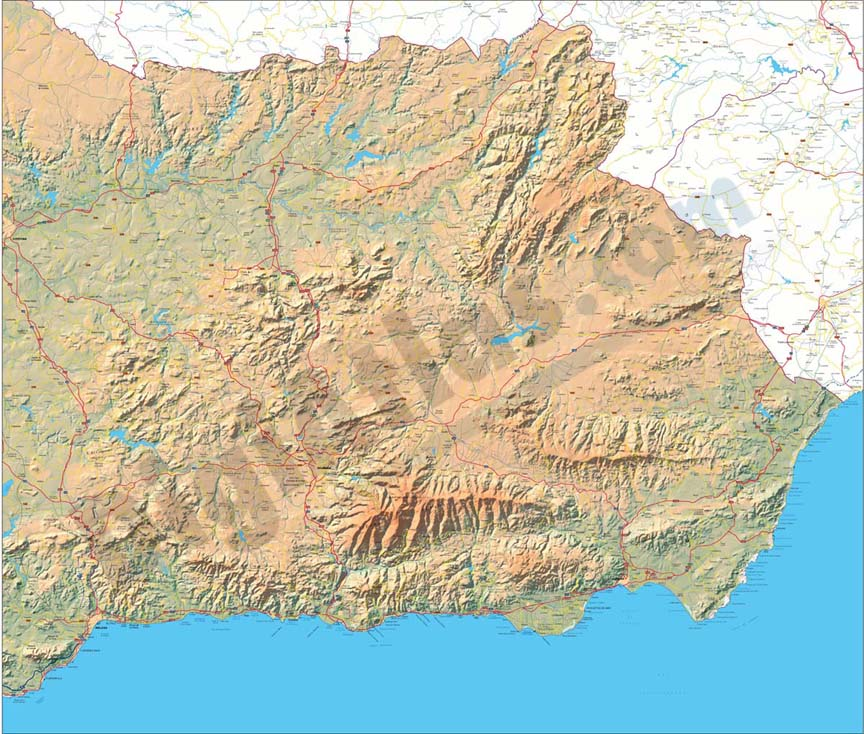 Map of Eastern Andalucia (Spain)