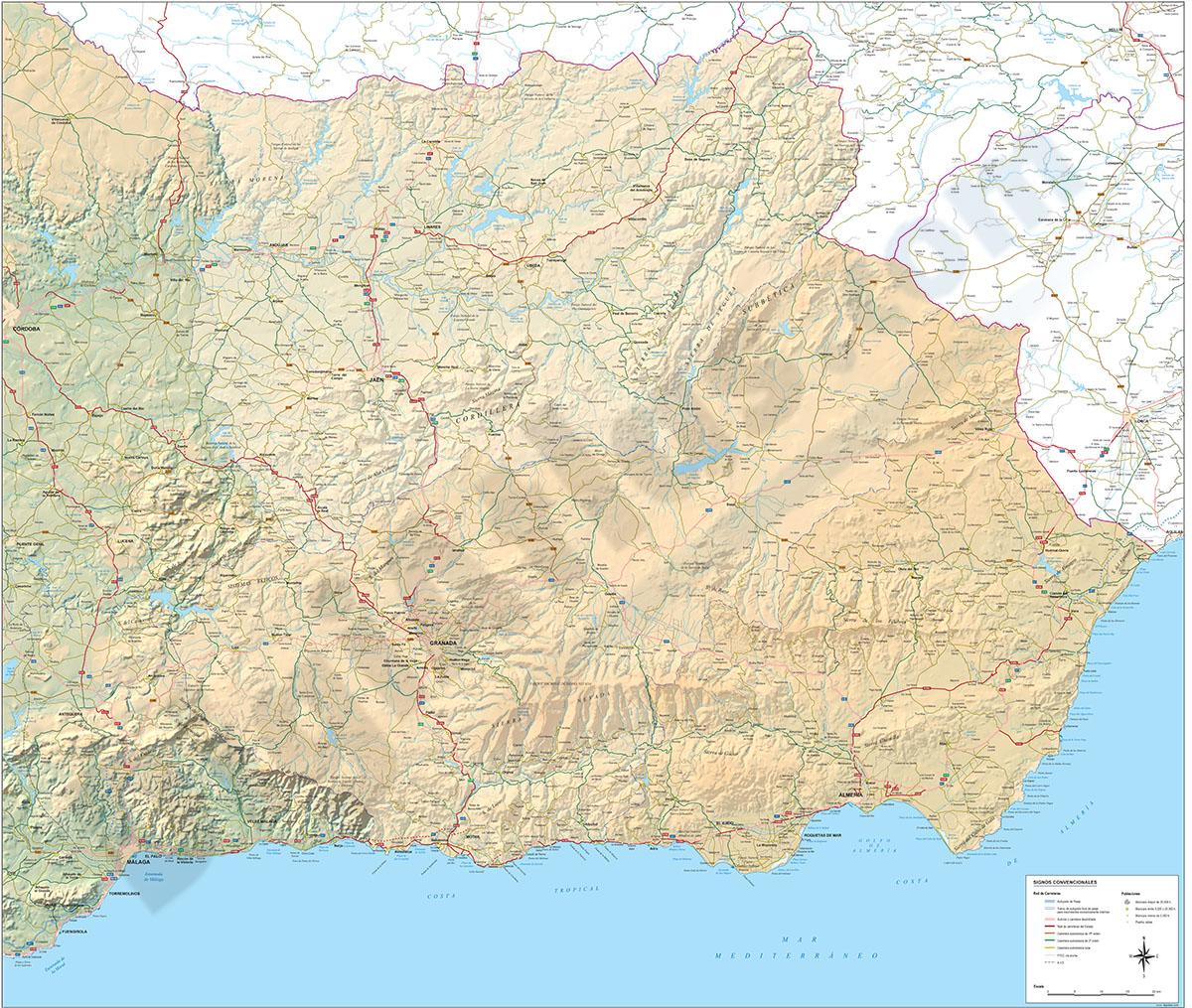 Mapa de Andalucía Oriental