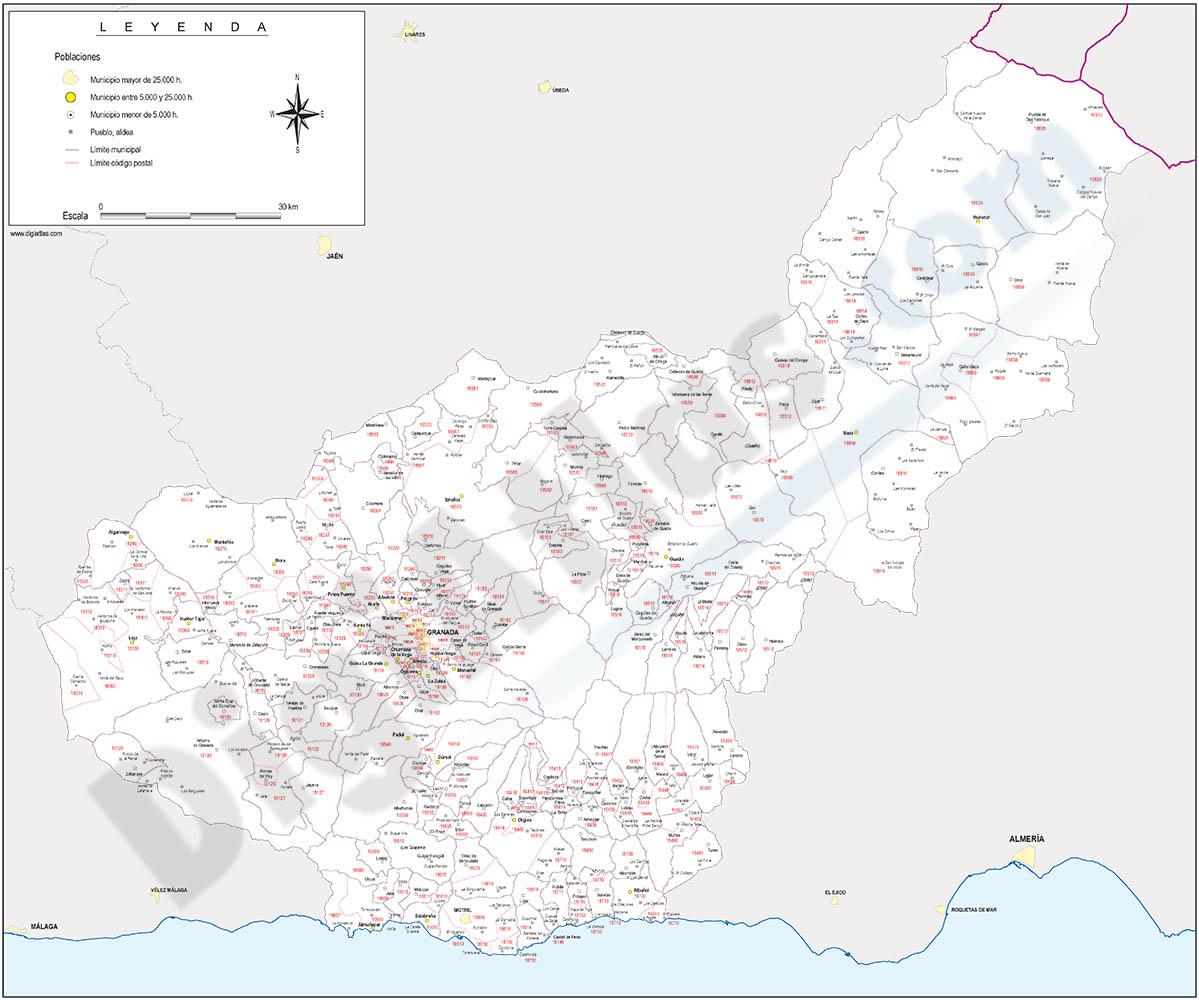 Granada  - mapa provincial con municipios y Códigos Postales
