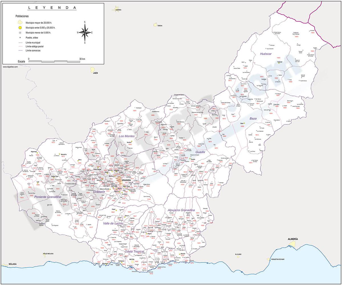 Granada  - mapa provincial con municipios, Códigos Postales y comarcas