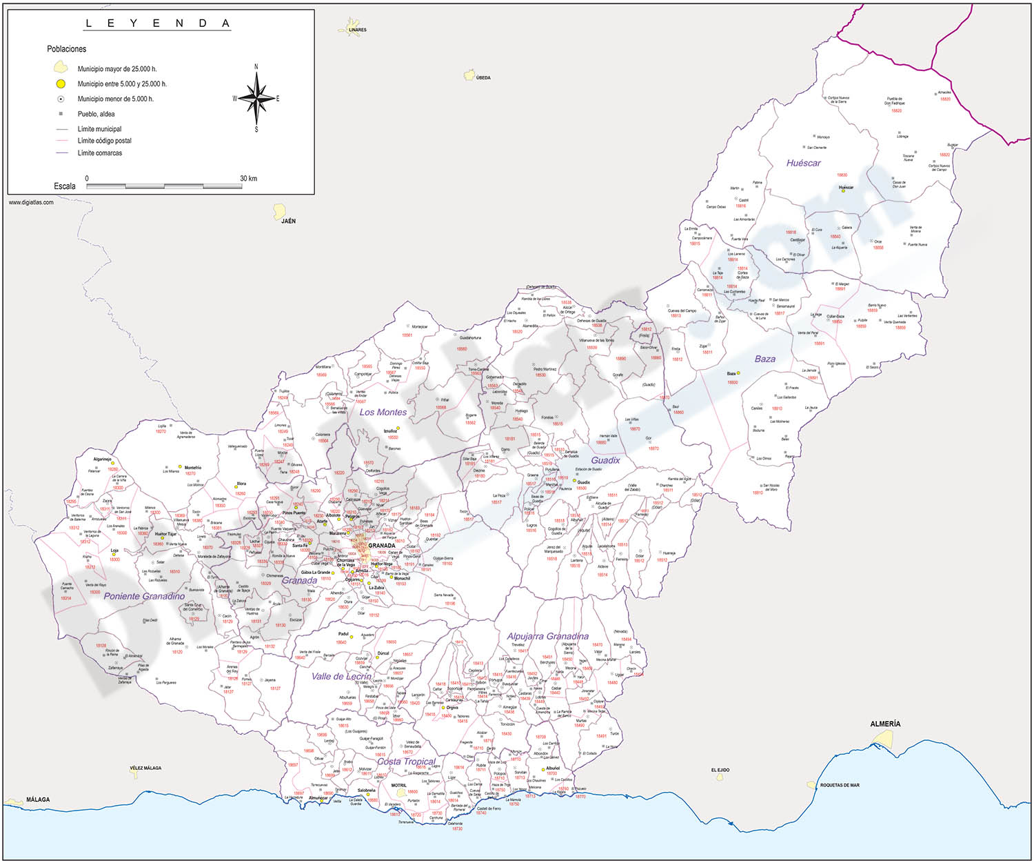 Map of Granada province with municipalities, postal codes and comarcas