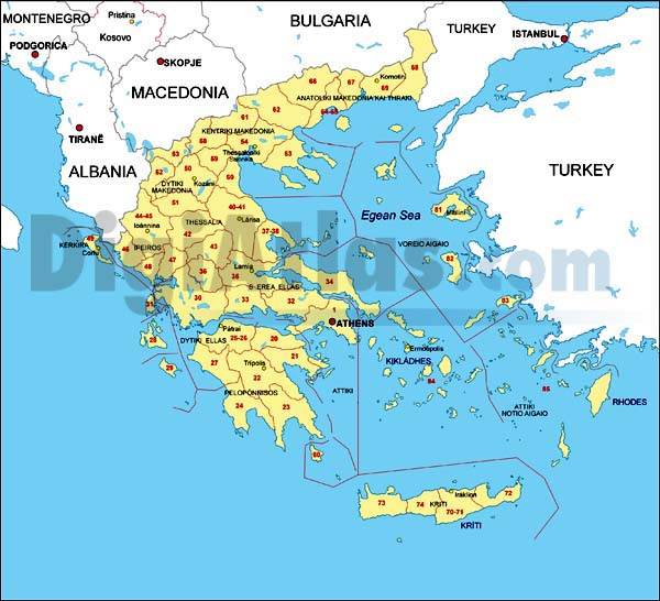 Map of Greece with regions and Postal Codes