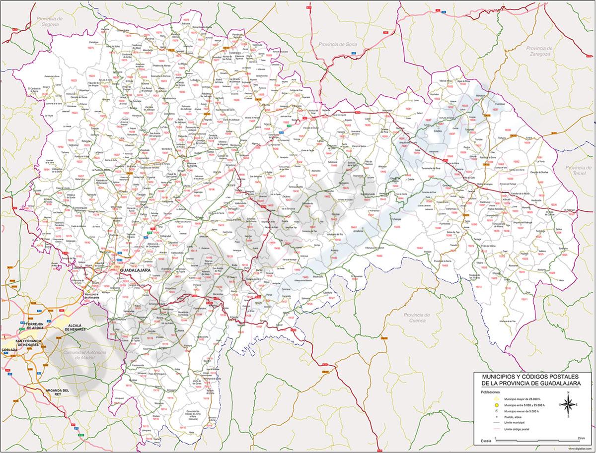 Guadalajara - mapa provincial con Códigos Postales y carreteras