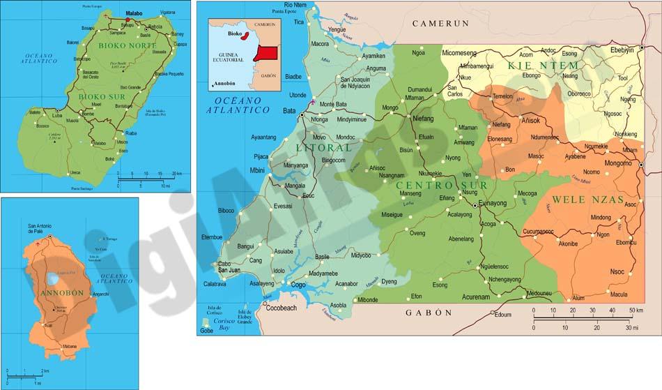 Map of Equatorial Guinea