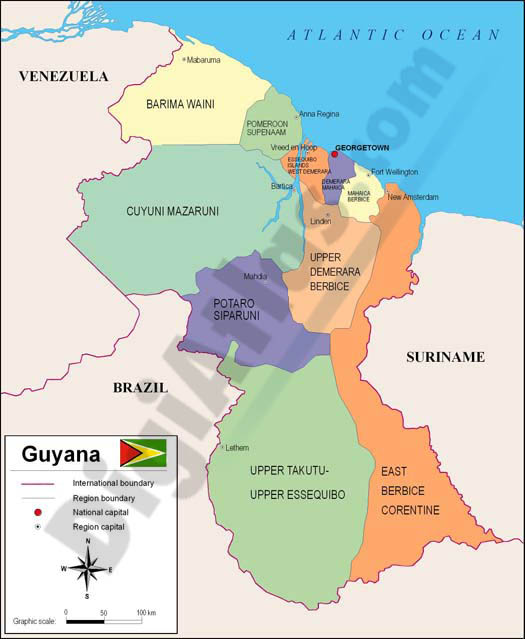 Map Of Guyana - Guyana physical map